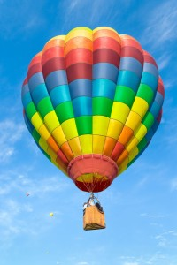 Hot air balloon over blue sky